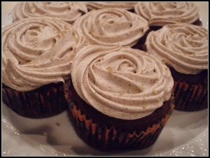 Chocolate Pumpkin Cupcakes with Espresso Spiced Frosting